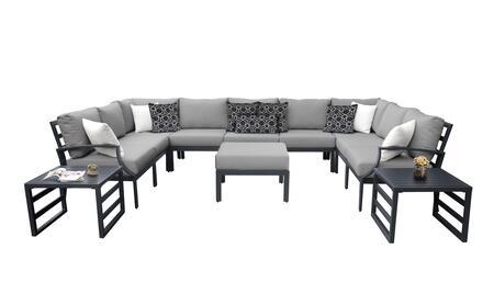 Lexington LEXINGTON-12g-GREY 12-Piece Aluminum Patio Set 12g with 1 Left Arm Chair  1 Right Arm Chair  2 Corner Chairs  5 Armless Chairs  1 Ottoman