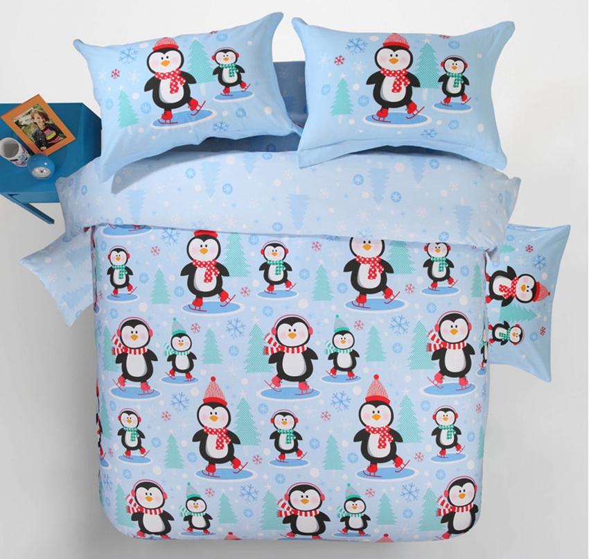 Adorable Christmas Penguin Print Blue 4-Piece Cotton Duvet Cover Sets