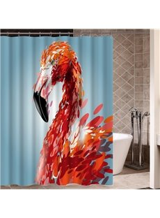 Flamingo Pattern Eco-friendly Material Mildew Resistant Shower Curtain
