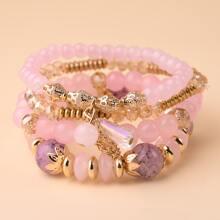 4pcs Crystal Beaded Bracelet