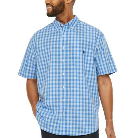 U.S. Polo Assn. Mens Short Sleeve Button-Down Shirt, 3x-large Tall , Blue