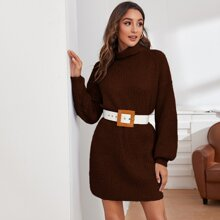 Pulloverkleid mit Stehkragen, sehr tief angesetzter Schulterpartie ohne Guertel