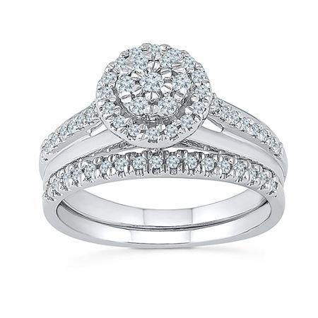 Womens 3/8 CT. T.W. Genuine White Diamond 10K White Gold Bridal Set, 5 , No Color Family