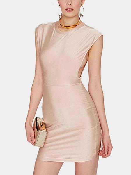 Yoins Sleeveless Low Armholes Mini Dress in Light Pink