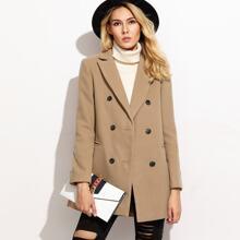 Zweireiher Mantel mit Welt Tasche-kamel