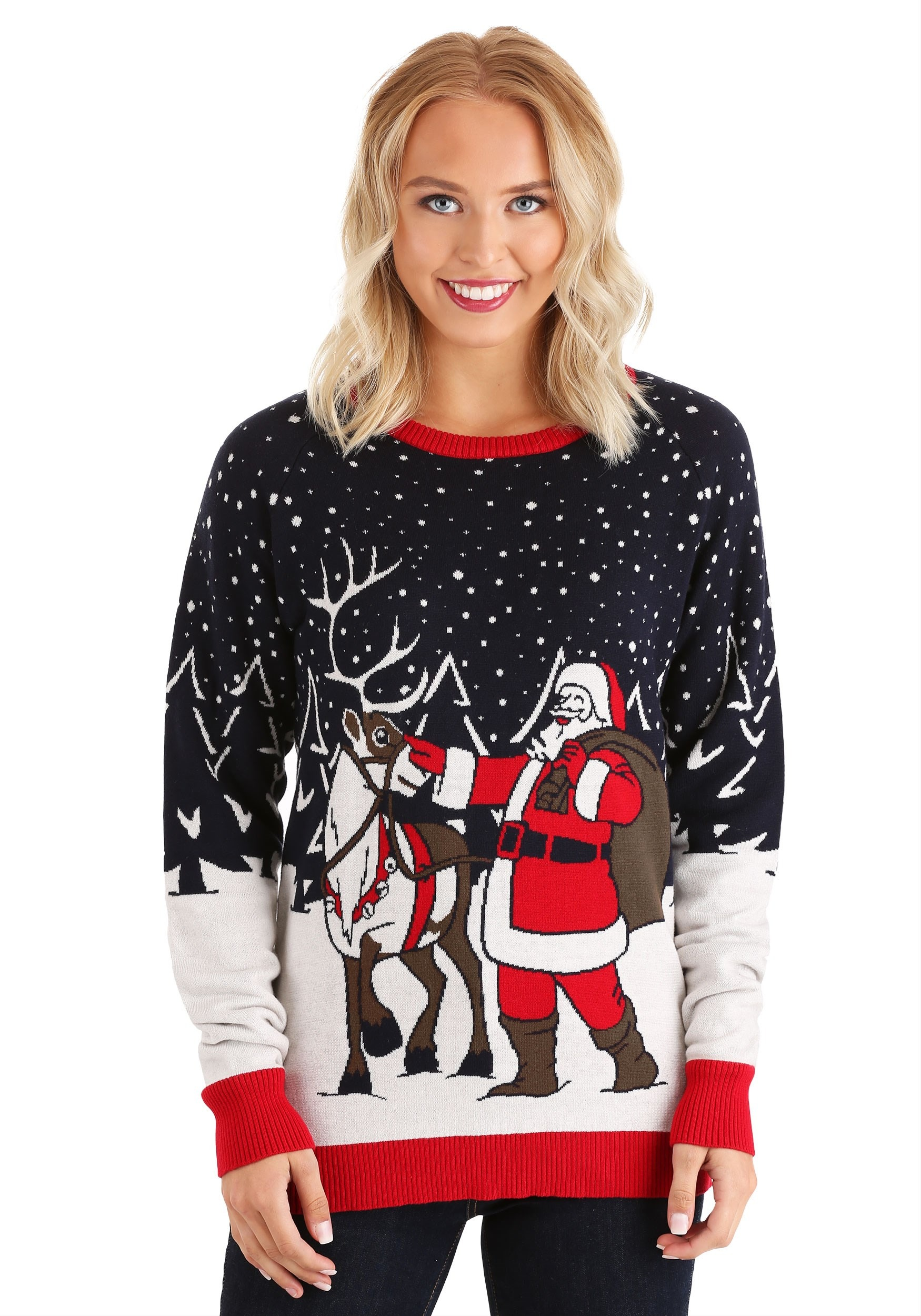 Vintage Santa & Reindeer Ugly Christmas Sweater for Adults