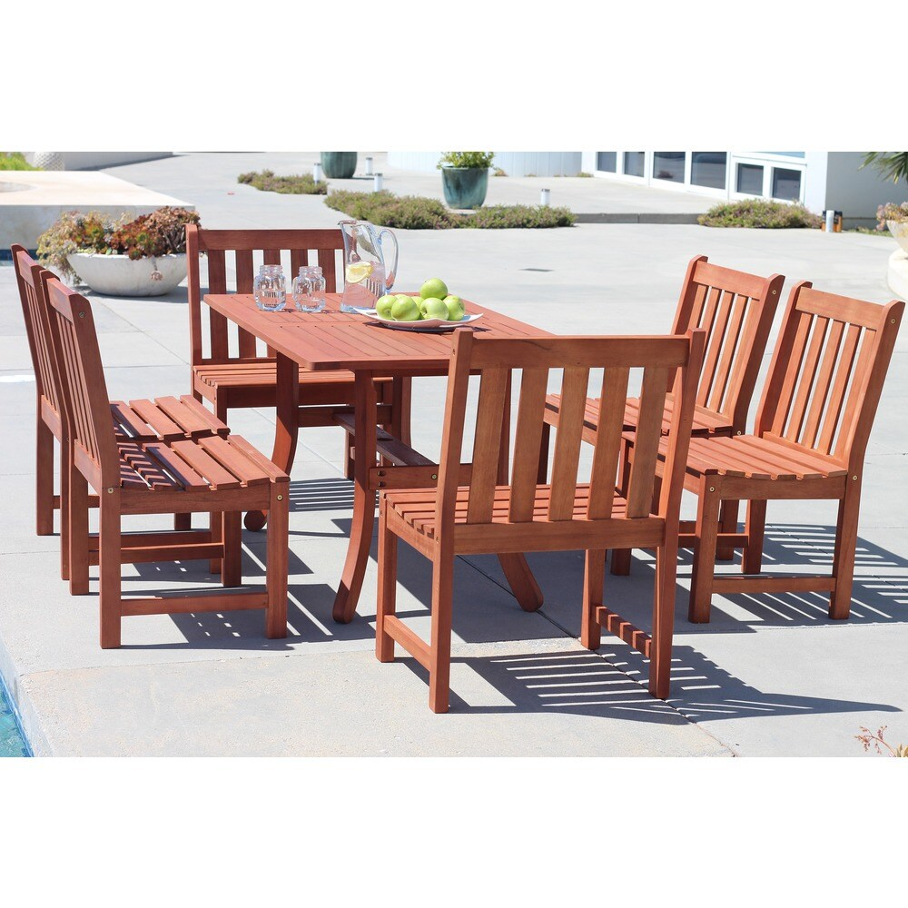 Surfside Eco-friendly 7-piece Outdoor Hardwood Dining Set with Rectangle Table and Armless Chairs by Havenside Home (Natural Wood)
