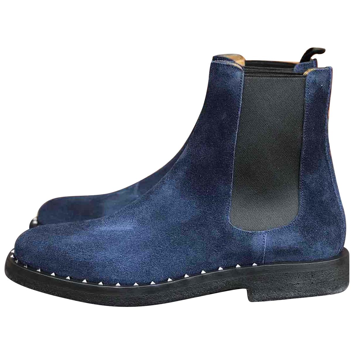 Valentino Garavani \N Blue Suede Boots for Men 44 EU