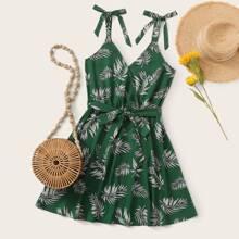 Knotted Strap Belted Jungle Leaf Print Dress