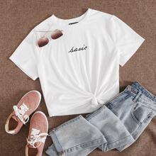 Grosse Grossen - T-Shirt mit Buchstaben Grafik