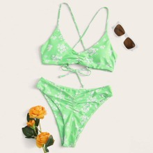 Floral Ruched Criss Cross Bikini Swimsuit