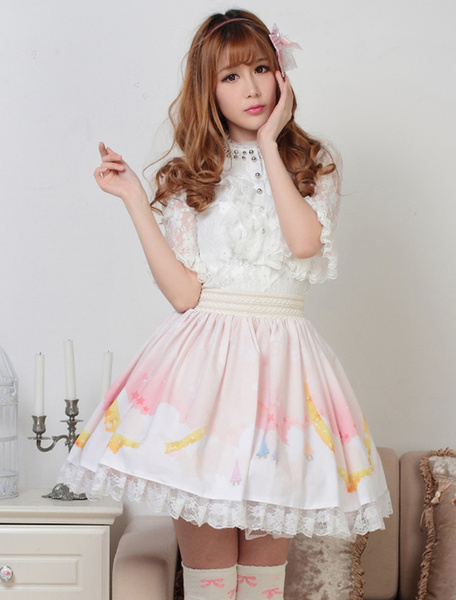 Milanoo Sweet Light Pink White Printed Lolita Skirt with Lace Trim