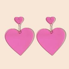 1 par pendientes largos con corazon