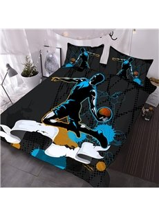 Slam Dunk 3D Basketball Comforter 3-Piece Soft Comforter Sets with 2 Pillowcases