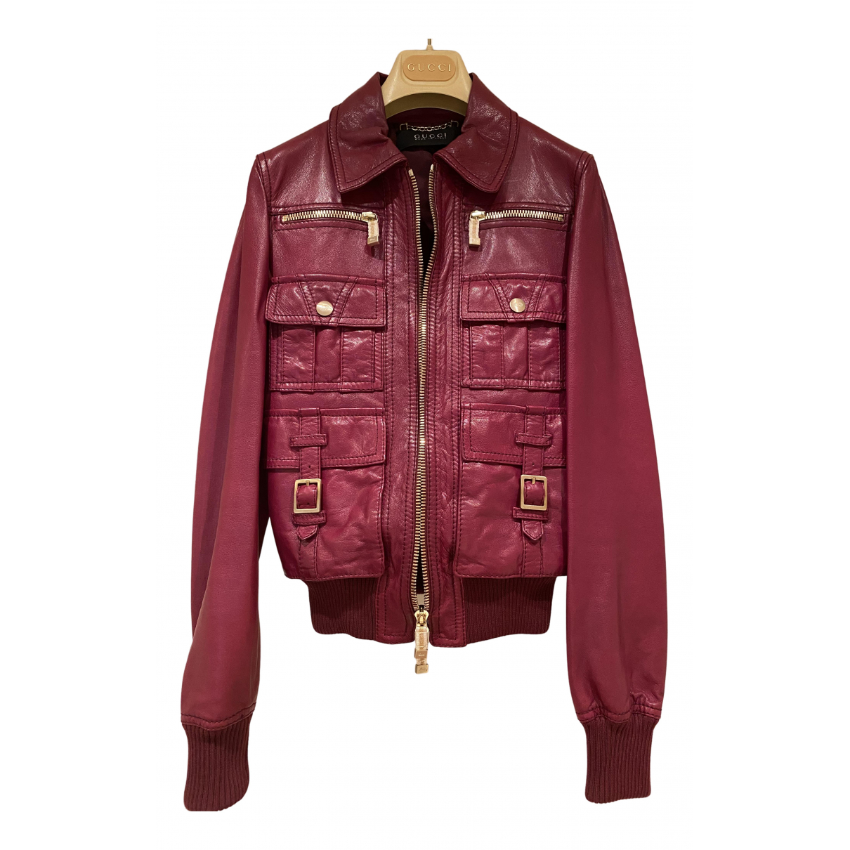 Gucci N Burgundy Leather Leather jacket for Women 40 IT