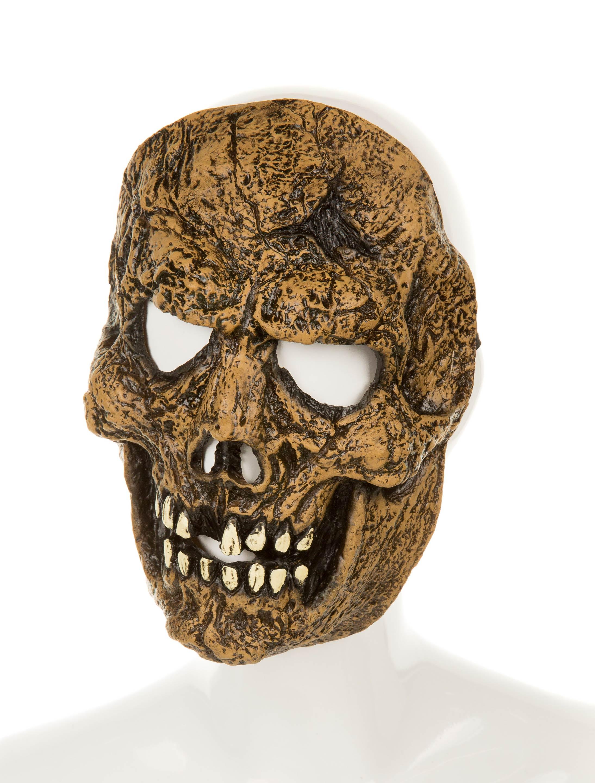 Kostuemzubehor Latexmaske Totenkopf braun