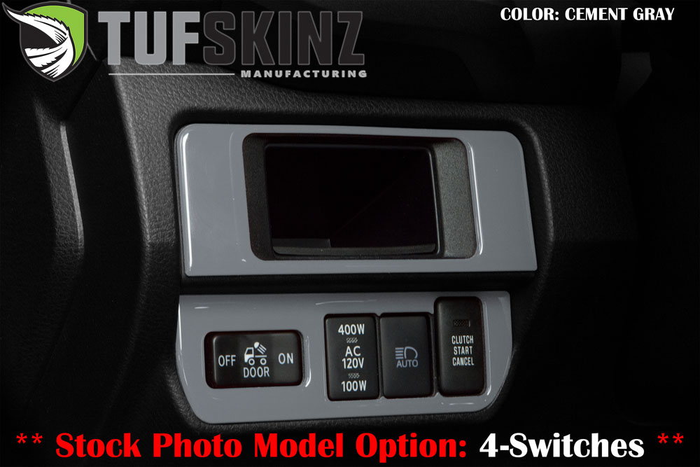 Tufskinz TAC025-GGY-G Dim Light Control Accent Trim with 3-Switches Fits 16-up Toyota Tacoma 2 Piece Kit Cement Gray