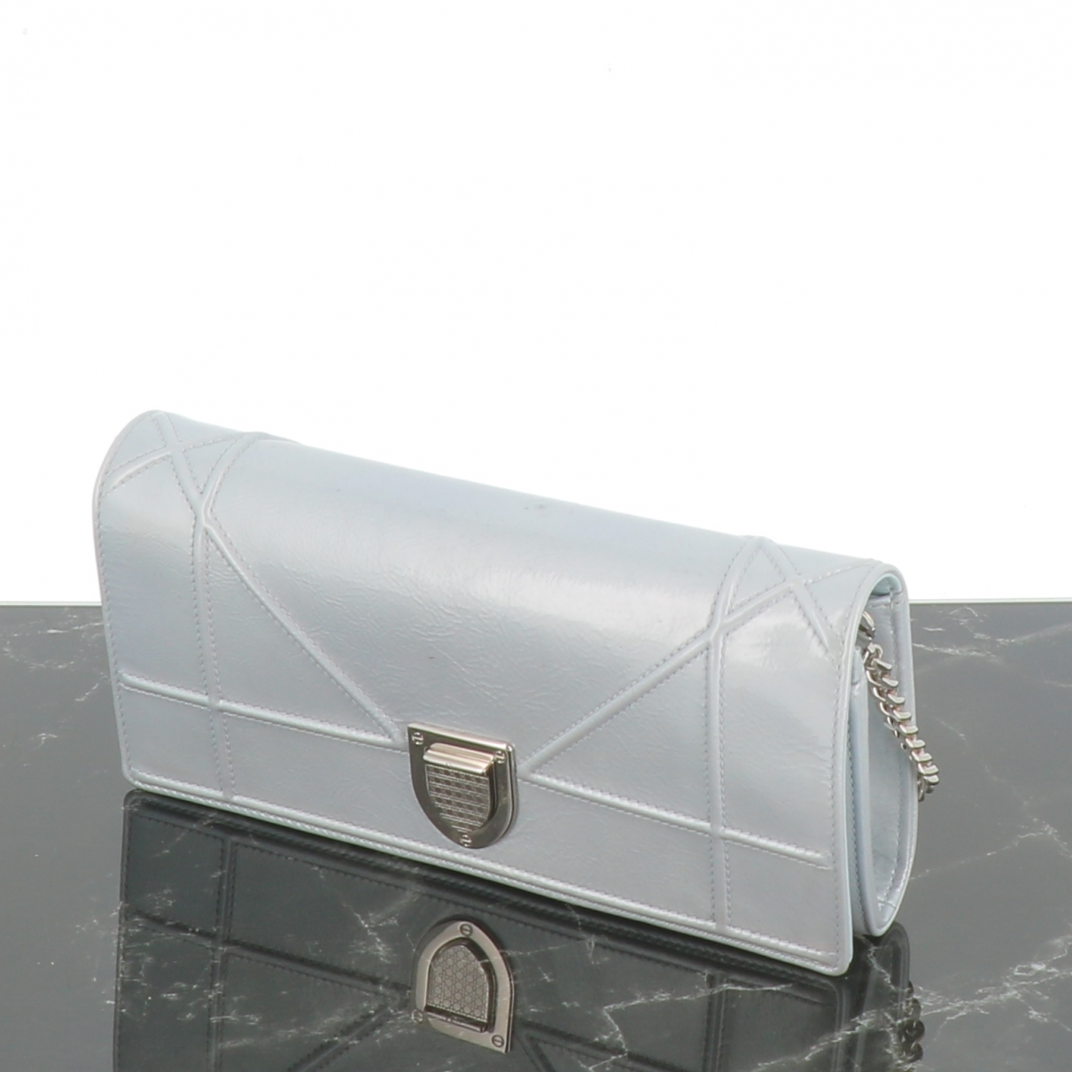 Dior Diorama Grey Patent leather Clutch bag for Women \N