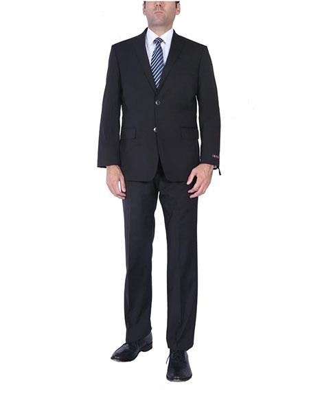 Mens Black Classic Fit Single Breasted TwoPiece Side Vent 2Button Suit