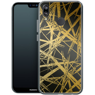 Huawei P20 Lite Silikon Handyhuelle - Strokes Gold Black von Khristian Howell