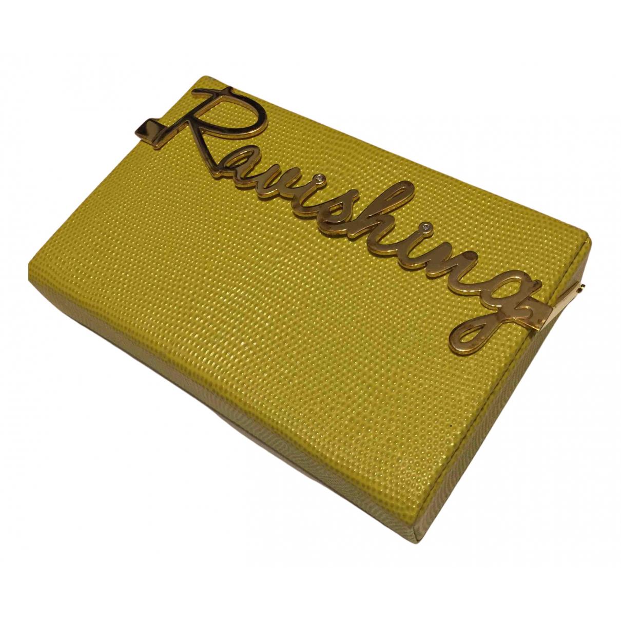 Charlotte Olympia - Pochette   pour femme en cuir - jaune