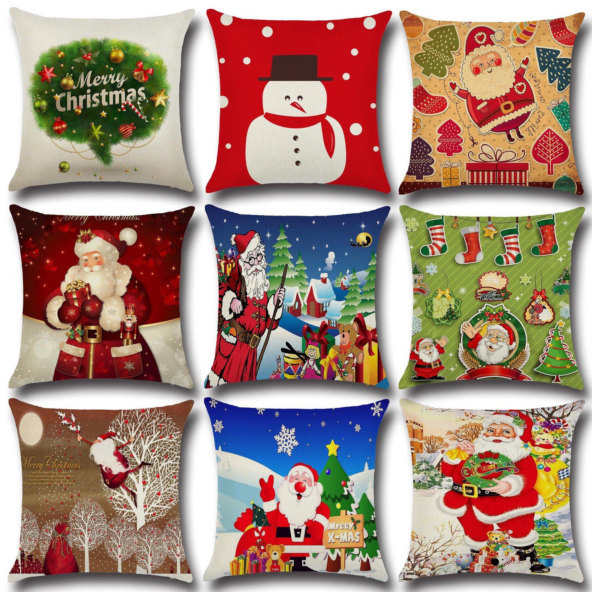 Retro Cartoon Christmas Santa Printed Throw Pillow Cases Home Sofa Cushion Cover Christmas Decor