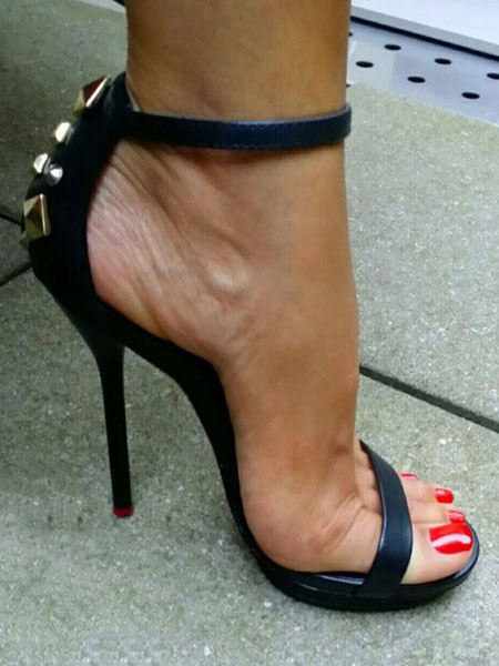 Milanoo Sandalias de tacon de stiletto estilo street wear Sandalias de puntera abierta Color liso estilo moderno para mujer