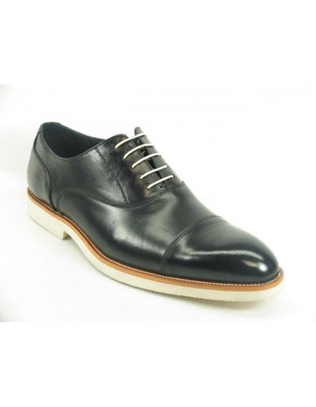 Men's Black Fashionable Carrucci Leather Oxford Shoes With White Sole