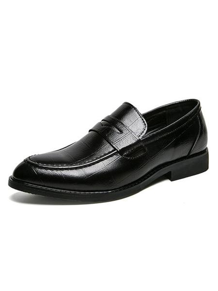 Milanoo Zapatos de hombre Lofers comodos de cuero PU sin cordones