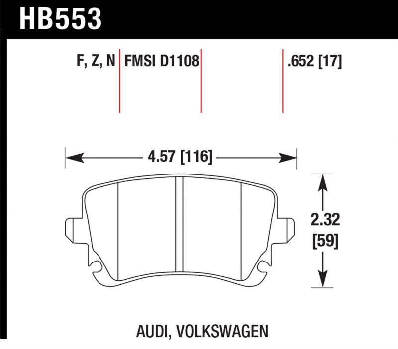 Hawk Performance HB553Z.652 Disc Brake Pad Audi Rear