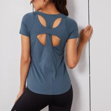 Solid Back Cut Out Sports Tee