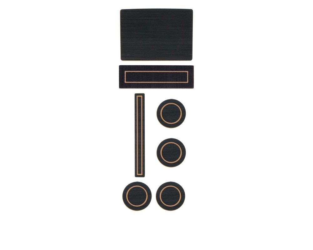 Tufskinz FRD016-FTN-X Interior Cup Holder Inserts Fits 2015-2016 F-150 W/Center Dash Speaker In Black/Tan