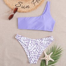 Bikini Badeanzug mit Grafik Muster und einer Schulter