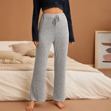 Solid Tie Front Lounge Pants