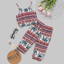 Toddler Girls Aztec Print Cami Top With Pants