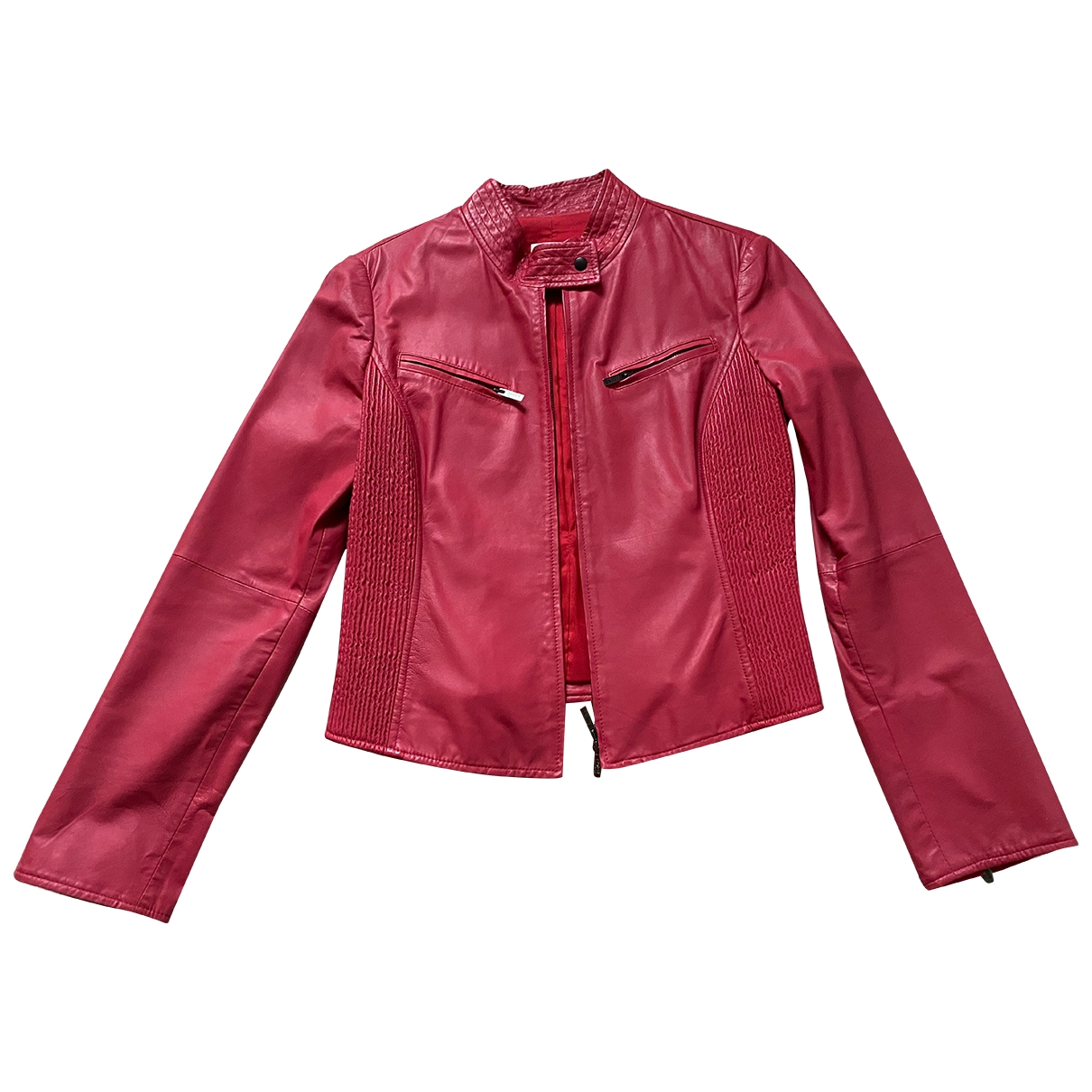 Armani Collezioni \N Red Leather Leather jacket for Women 42 IT