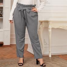 Pantalones de guingan con cinturon de cintura con volante - grande