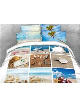 Vivilinen 3D Charming Beach Scenery Printed Cotton 4-Piece Bedding Sets/Duvet Covers