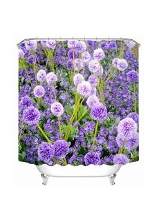 3D Purple Globe Amaranth Flower Printed Polyester Shower Curtain