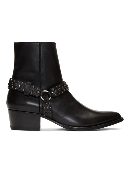 Milanoo Boots For Man Pointed Toe Cowhide Low Block Heel With Rivets