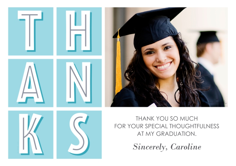 Graduation Thank You Cards 5x7 Cards, Premium Cardstock 120lb, Card & Stationery -Modern Thanks Grid