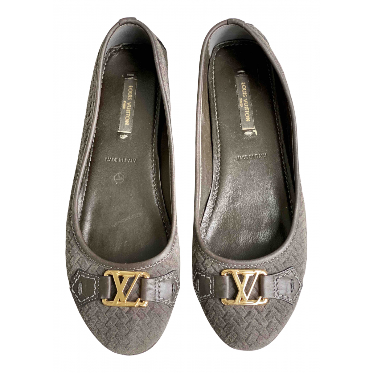 Louis Vuitton \N Ballerinas in  Grau Leder
