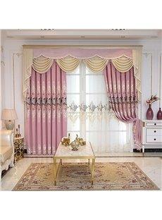 Pink Elegant Embroidered Floral Decorative Custom Sheer Curtains