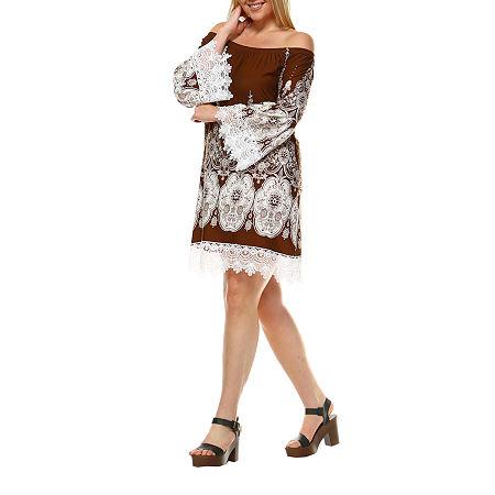White Mark Mya Bordered Sheath Dress - Plus, 2x , Brown
