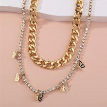 2pcs Rhinestone Decor Butterfly Charm Necklace