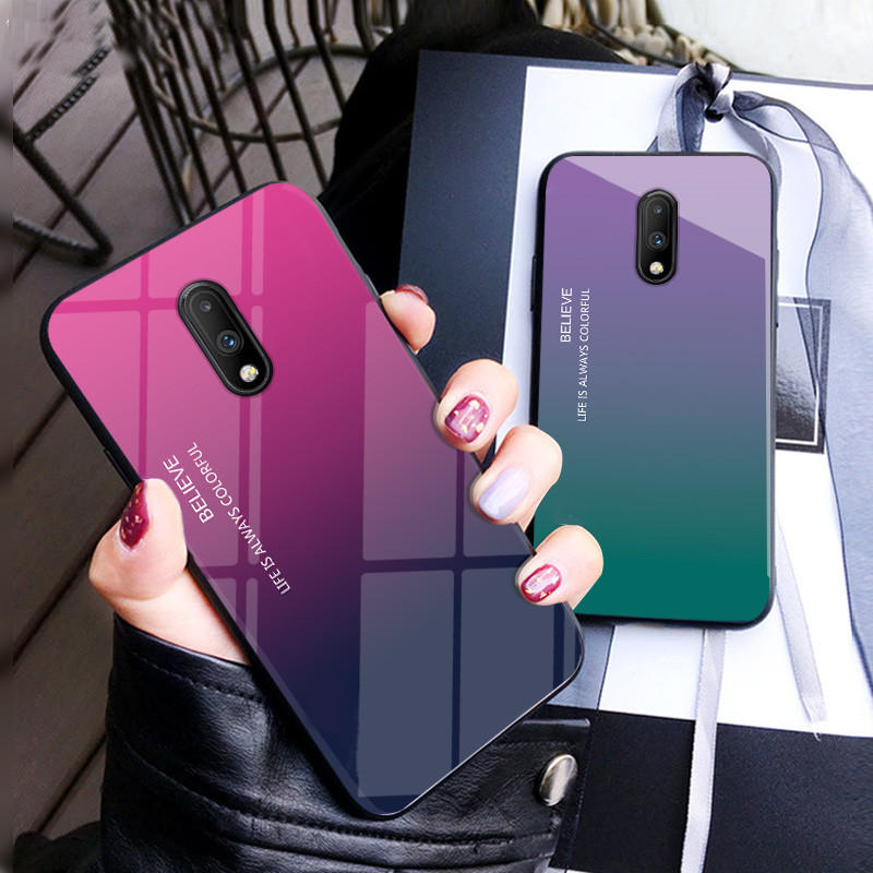 Bakeey Gradient Color Shockproof Tempered Glass Protective Case for OnePlus 7