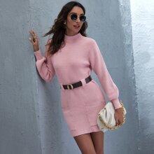 Pocket Front Ribbed Knit Belted Sweater Dress
