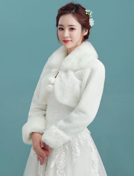 Milanoo Wedding Jacket Bolero Turndown Collar Long Sleeve Angora Ivory Bridal Winter Faux Fur Stole With Pom Poms