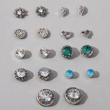 9 pares pendientes con diamante de imitacion