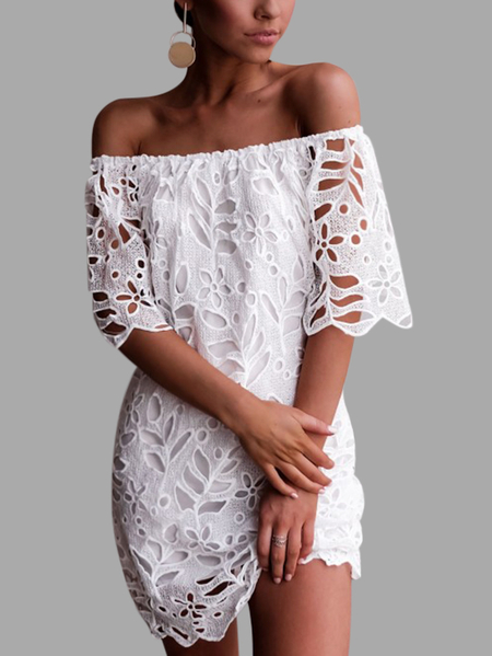 Yoins White Lace Details Off The Shoulder Half Sleeves Dress